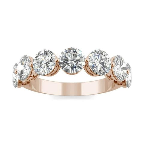 Moissanite by Charles & Colvard 14k Rose Gold 3.50ct DEW 7-Stone Band