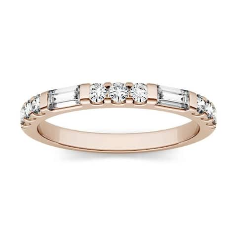 Moissanite by Charles & Colvard 14k Rose Gold 0.5ct DEW Baguette Stackable Band