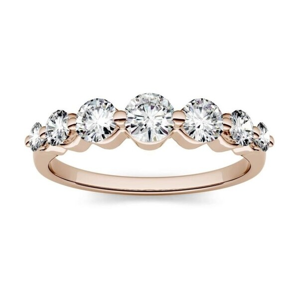 Moissanite by Charles & Colvard 14k Rose Gold 0.87ct DEW 7-Stone Band. Opens flyout.
