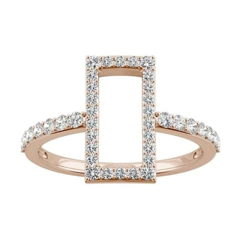 Moissanite by Charles & Colvard 14k Rose Gold 0.45ct DEW Geometric Fashion Ring