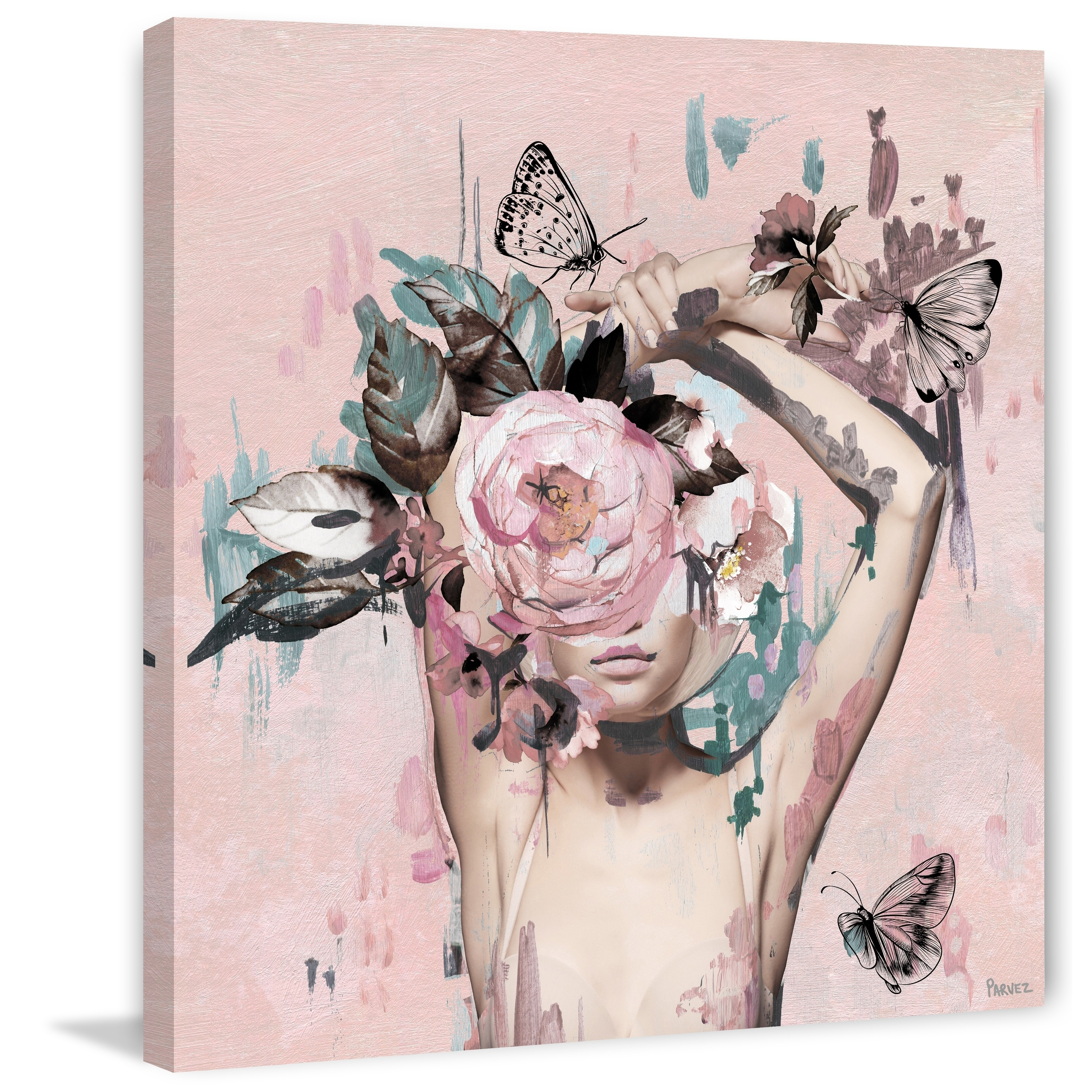 Handmade Floral Crown Beauty Print On Wrapped Canvas Overstock 28039560