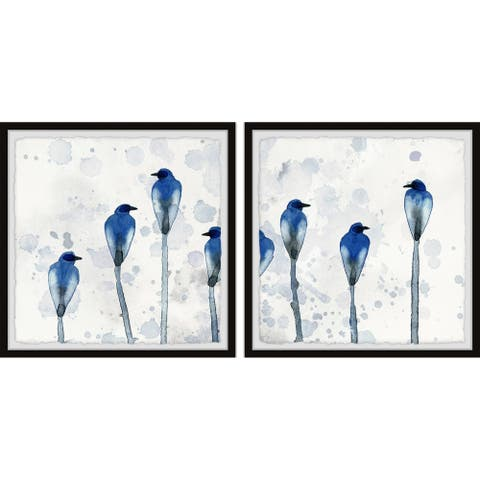 Marmont Hill - Handmade Standing Blue Birds Diptych - Multi-color