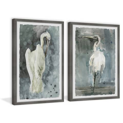 Marmont Hill - Handmade White Seagulls Diptych - Multi-color