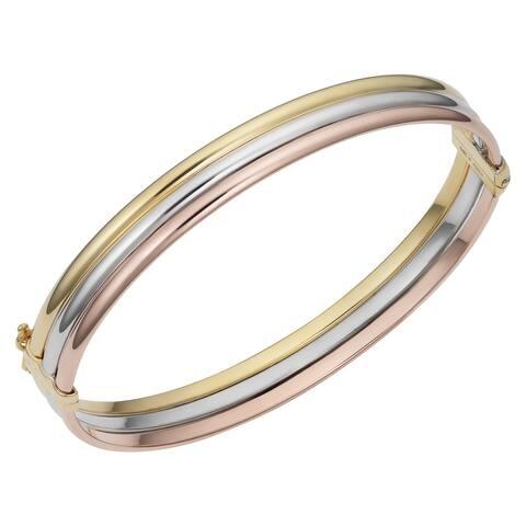 14k Gold Tricolor Triple Band Bangle