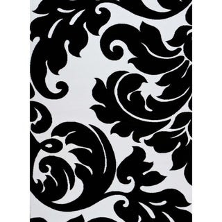 "Persian Rugs 3459 Black Damask Floral Abstract Area Rug 5x7 - 5'2"" x 7'2"""