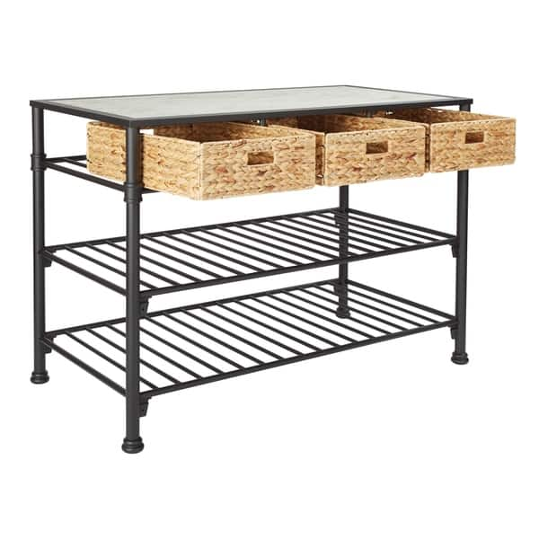 Shop Paula Kitchen Island With Faux White Marble Top Overstock 28039855