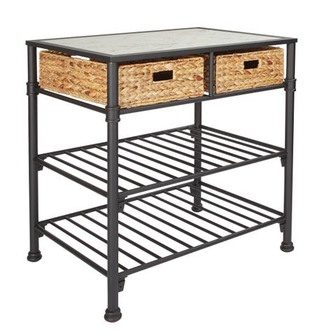 OSP Home Furnishings Alice Kitchen Island with Faux White Marble Top
