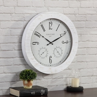 """FirsTime & Co.® Shiplap Planks Outdoor Clock and Thermometer - 18"""""""
