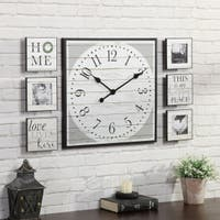 FirsTime & Co.® Shiplap Gallery Wall Clock and Plaque Set