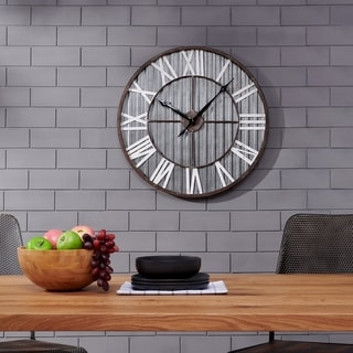 FirsTime & Co.® Antique Corrugated Metal Wall Clock - 31.5""