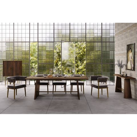 Modrest Selena Modern Acacia and Brass Dining Table