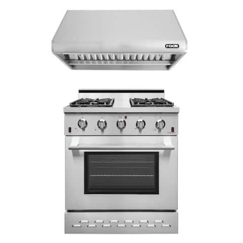 "NXR 30"" Pro Style Gas Range SC3055 and 30"" Under Cabinet Range Hood RH3001 Set"