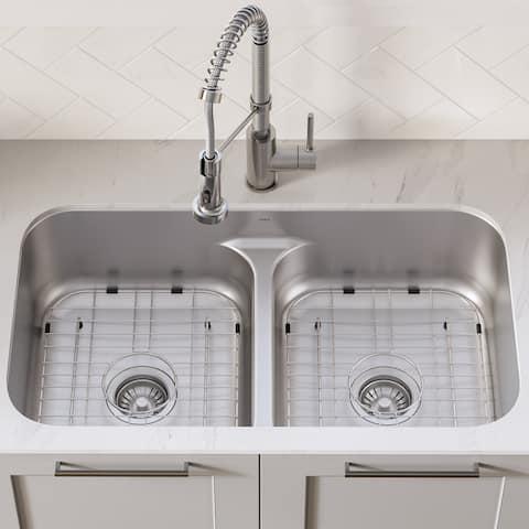 """KRAUS Stainless Steel 33"""" Undermount Kitchen Sink w Pulldown Faucet"""