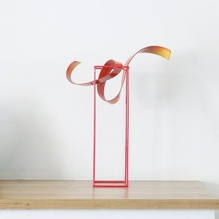 """Bud"" Indoor-Outdoor Freestanding Abstract Multi-Color Iron Sculpture - 14.9""L x 5.1""D x 19.7""H"