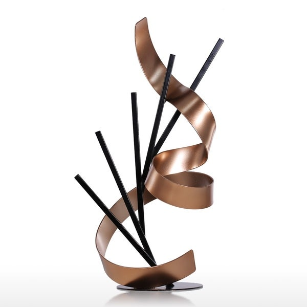 """""""Straight Line and Ribbon"""" Abstract Multi-Color Iron Sculpture - 10.6""""L x 8.6""""D x 20.4""""H"""