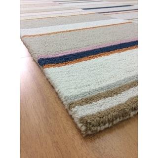 Modern Style Beige Wool Big Handmade Area Rug - 5' x 8'