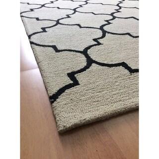 Deluxe Comfort Handmade Modern Beige Wool Area Rug - 5' x 8'