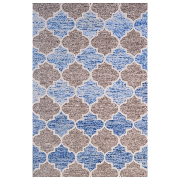 Blue Wool Handmade Area Rug - 5' x 8'