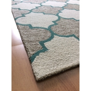 Brown Wool Handmade Big Indoor Modern Area Rug - 5' x 8'