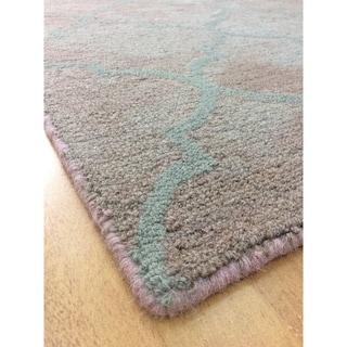 Modern Style Brown Wool Handmade Big Indoor Area Rug - 5' x 8'