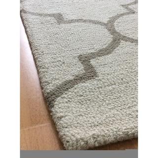 Beige Wool Handmade Area Rug - 5' x 8'