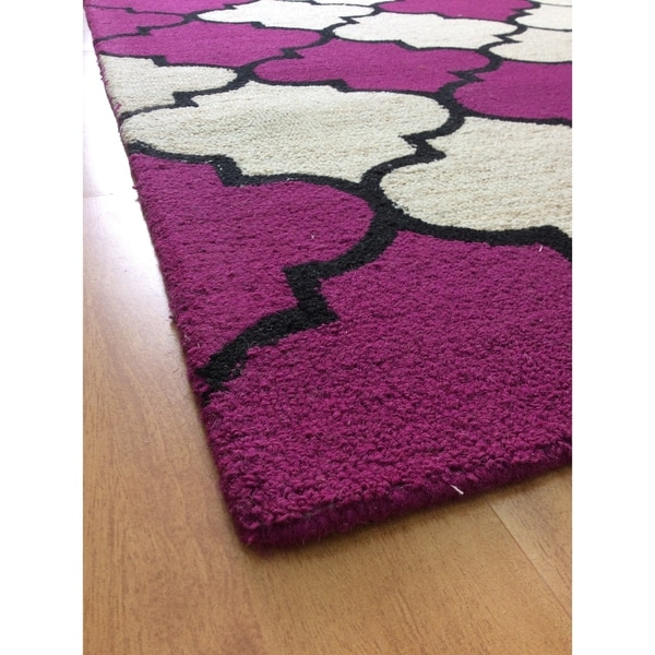 Deluxe Comfort Modern Style Big Brown Wool Handmade Indoor Area Rug - 5' x 8'