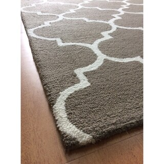 Handmade Modern Style Brown Wool Big Indoor Area Rug - 5' x 8'