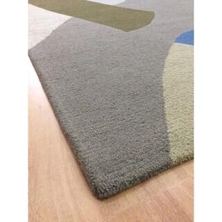 Modern Style Beige Wool Handmade Big Indoor Area Rug - 5' x 8'
