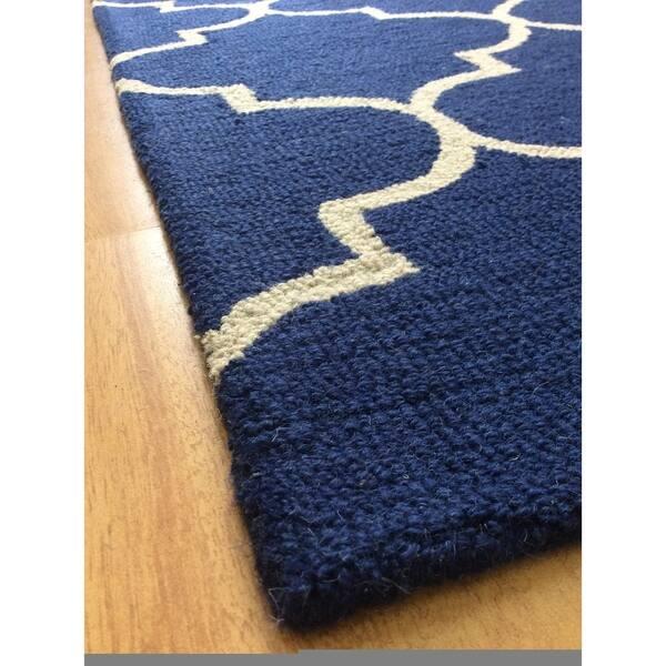 Navy Blue Wool Handmade Indoor
