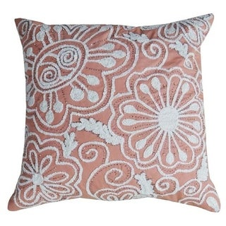 """Peacock Throw Pillow Cover (Pink, 20""""X20"""" embroidery)"""
