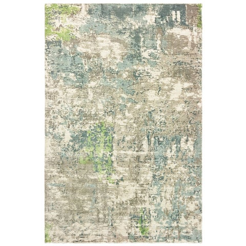 Francesca Blue and Green Distressed Hi-low Detail Handmade Area Rug