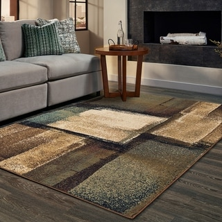 Copper Grove Ivanic Distressed Abstract Geometric Brown and Blue Area Rug