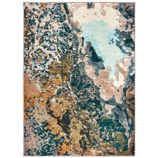 Sierra Distressed Abstract Blue/ Gold Area Rug