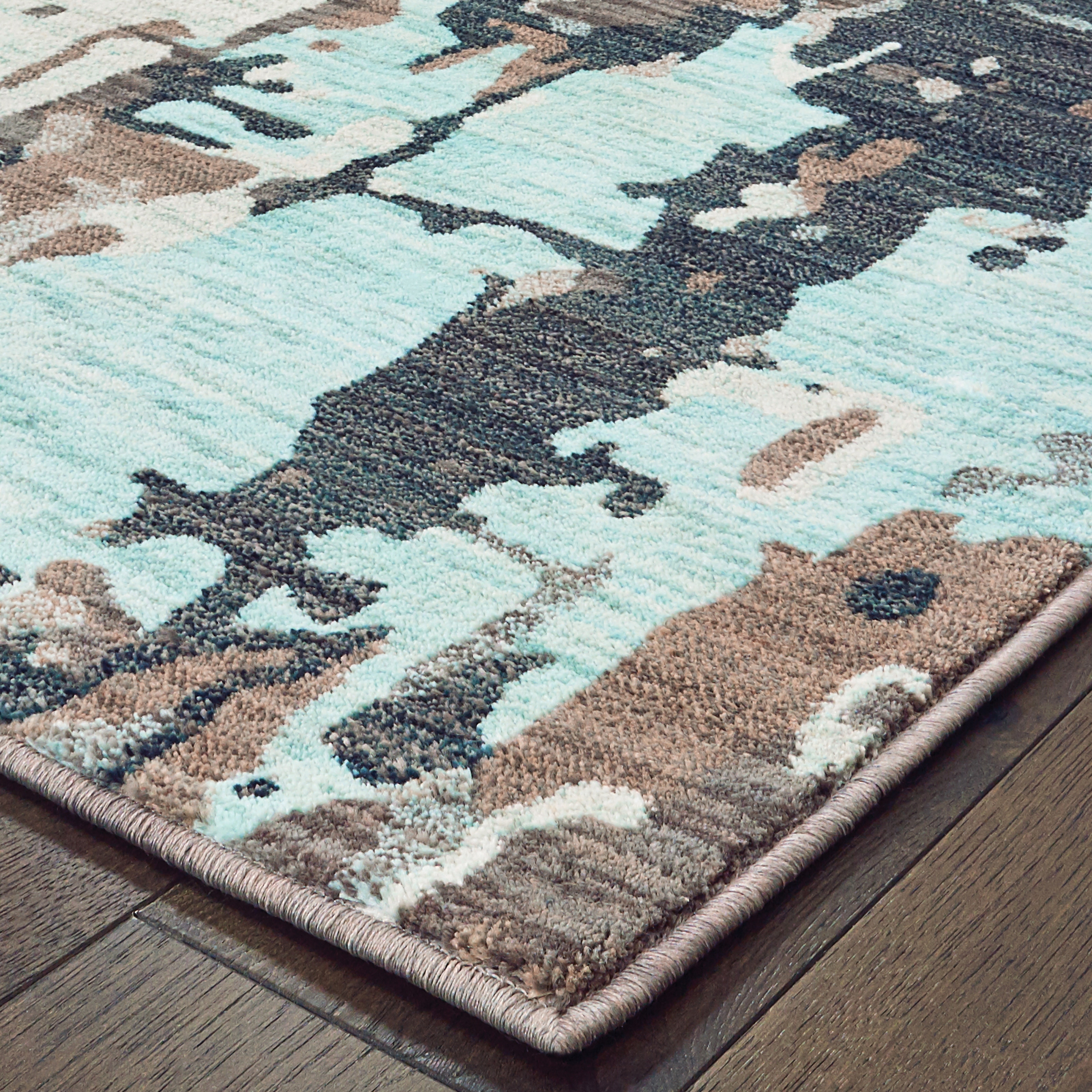Grey Blue Distressed Abstract Area Rug