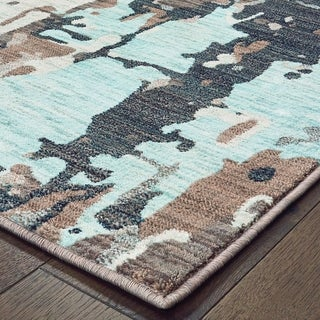 Strick & Bolton Fini Grey/ Blue Distressed Abstract Area Rug