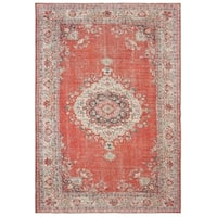The Curated Nomad Lobos Faded Medallion Red/ Grey Area Rug