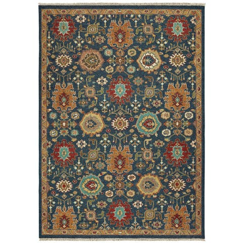 Tommy Bahama Angora Handmade Wool Traditional Blue/ Rust Area Rug