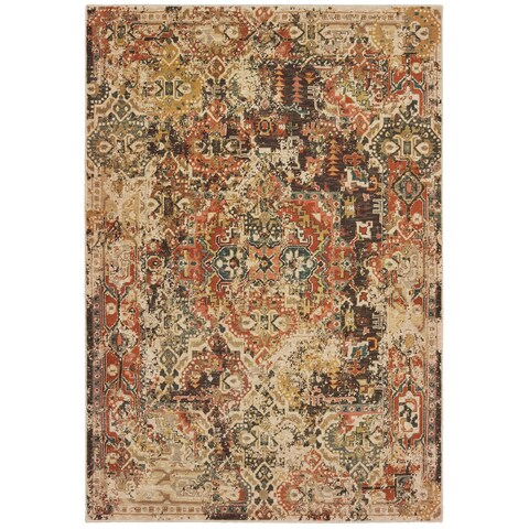 The Curated Nomad Claude Faded Tribal Charcoal/ Orange Area Rug