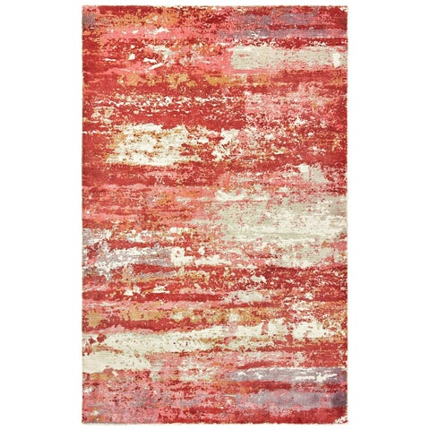 Francesca Pink and Red Distressed Hi-low Detail Handmade Area Rug
