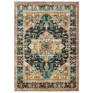 The Curated Nomad Hosquith Blue/ Gold Distressed Medallion Area Rug
