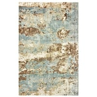 Gracewood Hollow Khachatur Distressed High-Low Blue and Brown Area Rug