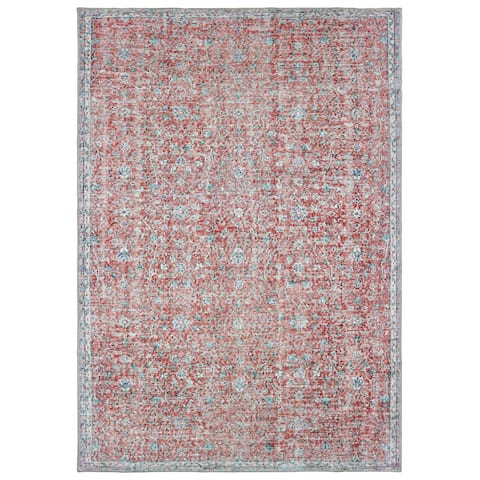 The Gray Barn Dinky Creek Distressed Floral Red and Blue Area Rug