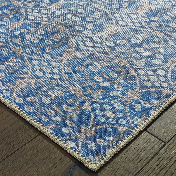 The Gray Barn Ivy Hollow Distressed Floral Blue And Brown Area Rug Overstock 28041735