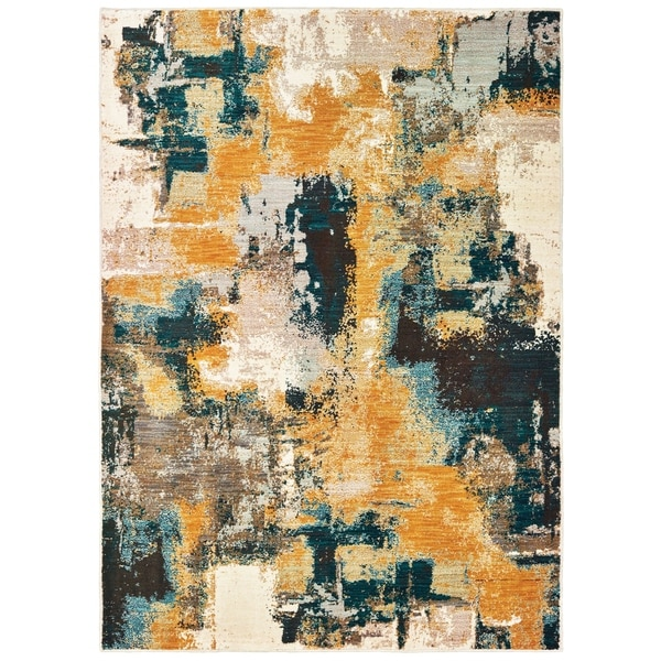 Strick & Bolton Mily Blue/ Gold Abstract Area Rug