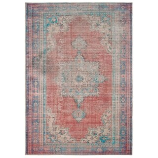 The Curated Nomad Lobos Antiqued Medallion Red/ Blue Area Rug