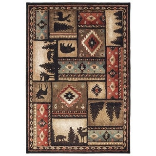Westley Lodge Patchwork Black/ Multi Area Rug