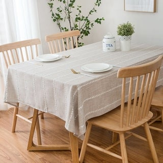 Enova Home 54x 78 High Quality Rectangle Cotton and Polyester Tablecloth (Beige)