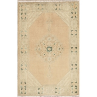 """Vintage Muted Tabriz Hand Knotted Wool Distressed Persian Area Rug - 5'1"""" x 3'4"""""""