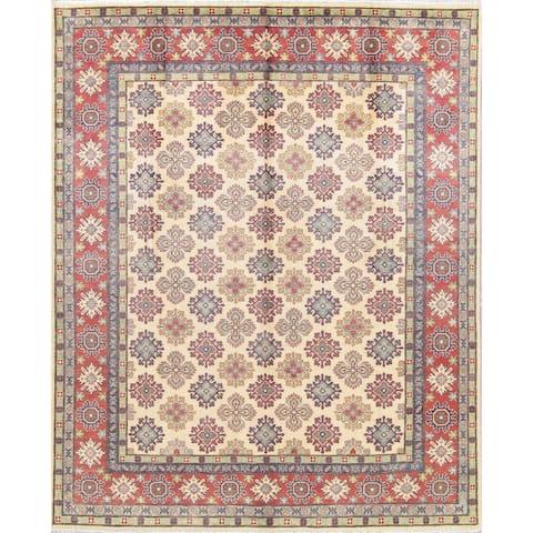 "Kazak Geometric Hand Knotted Wool Pakistani Oriental Area Rug - 9'10"" x 8'0"""