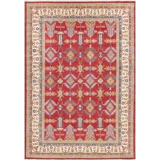 "Kazak Geometric Hand Knotted Wool Pakistani Oriental Area Rug - 11'8"" x 8'3"""
